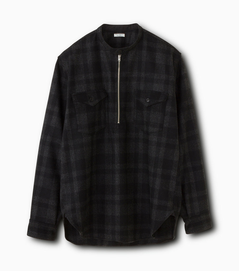 "PHIGVEL MAKERS & Co. ""Half Zip Band Collar Shirt"" Charcoal Black"