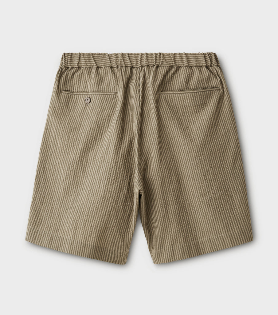 "PHIGVEL MAKERS & Co. ""Seersucker Stripe Easy Short Pants"" Khaki Olive"