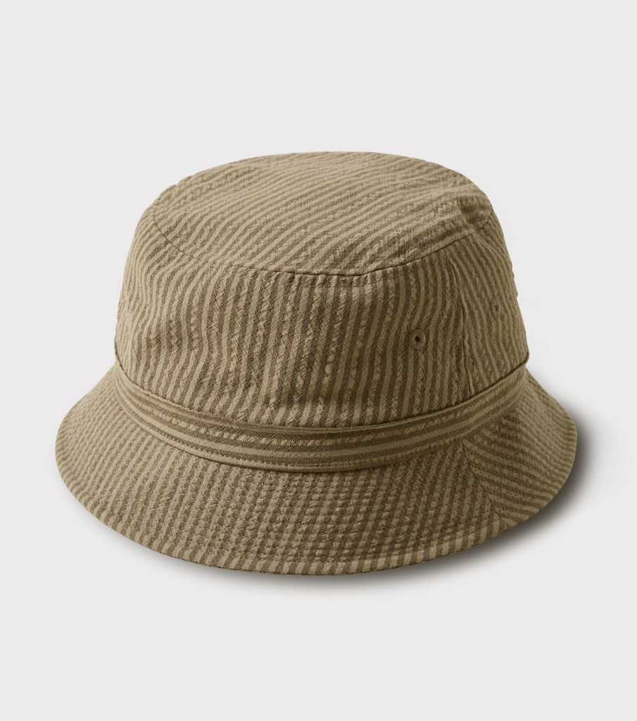 "PHIGVEL MAKERS Co. ""Seersucker Stripe Bucket Hat"" Khaki Olive"