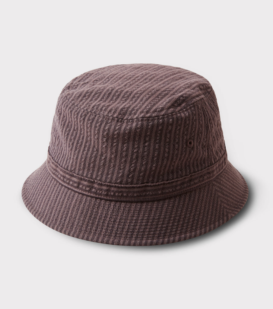 "PHIGVEL MAKERS & Co. ""Seersucker Stripe Bucket Hat"" Purple Brown"
