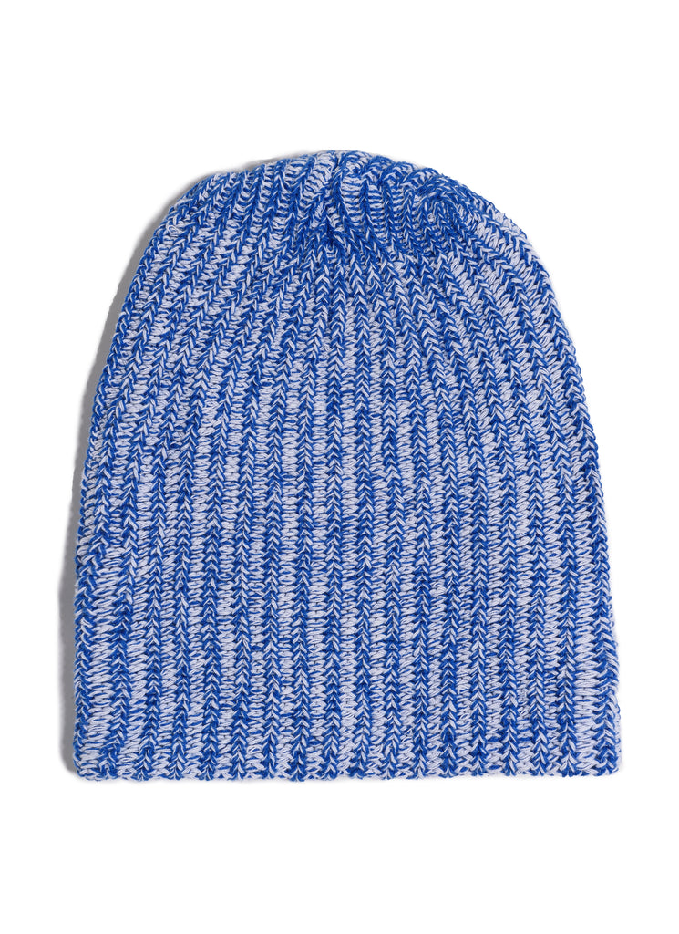 Cotton Knit Beanie - White x Royal