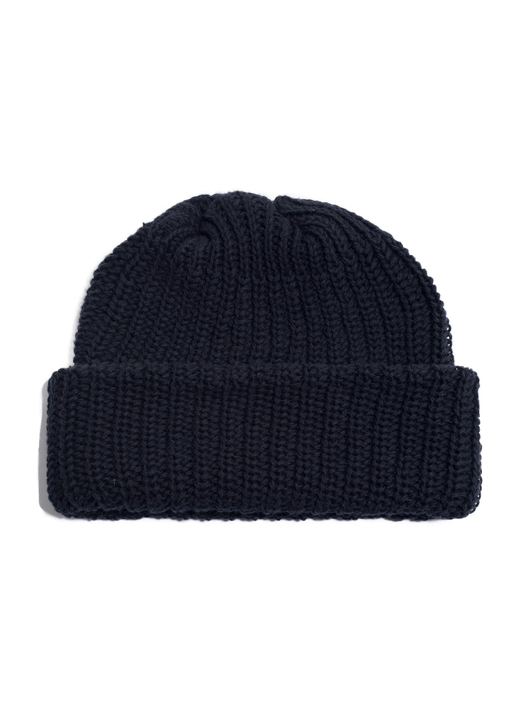 Cotton Knit Watch Beanie - Black