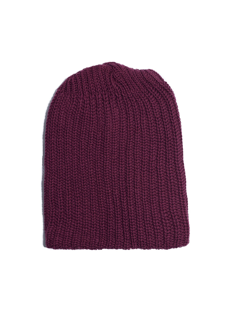 Cotton Knit Watch Beanie - Burgundy