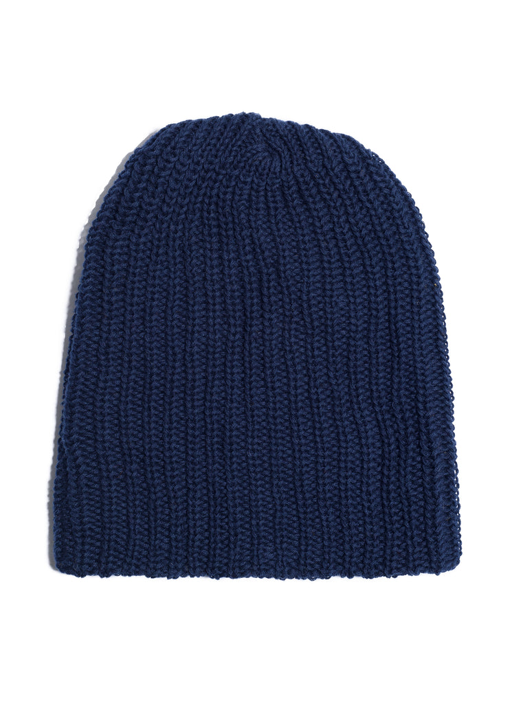 Cotton Knit Watch Beanie - Navy