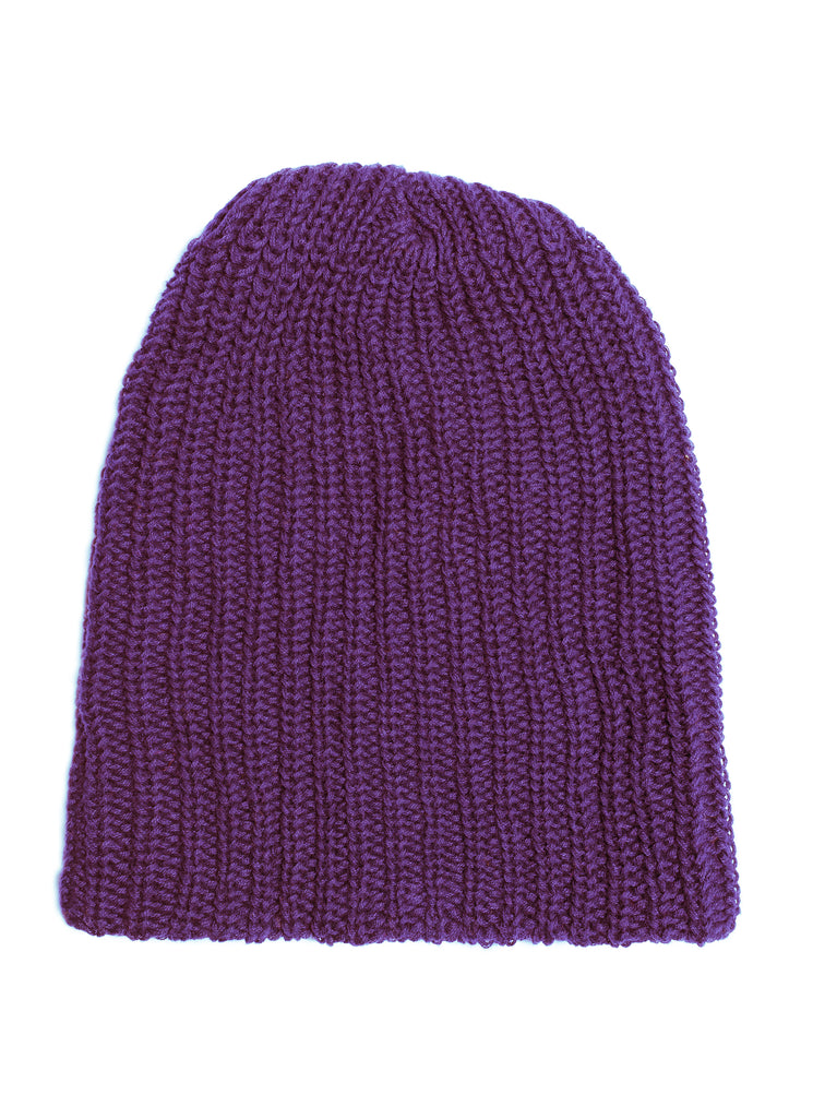 Cotton Knit Watch Beanie - Purple