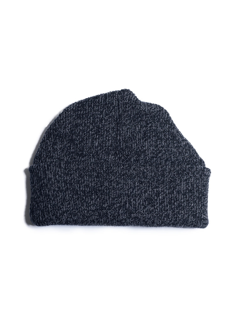 Rib Knit Watch Beanie - Black x Charcoal