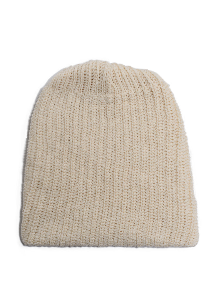 Cotton Knit Watch Beanie - Natural