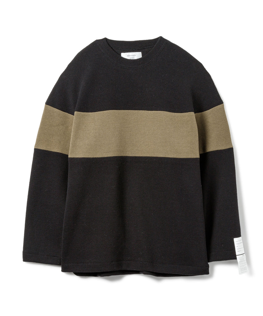 "Sandinista MFG ""2-Tone Cotton Knit Top"" Black x Khaki"