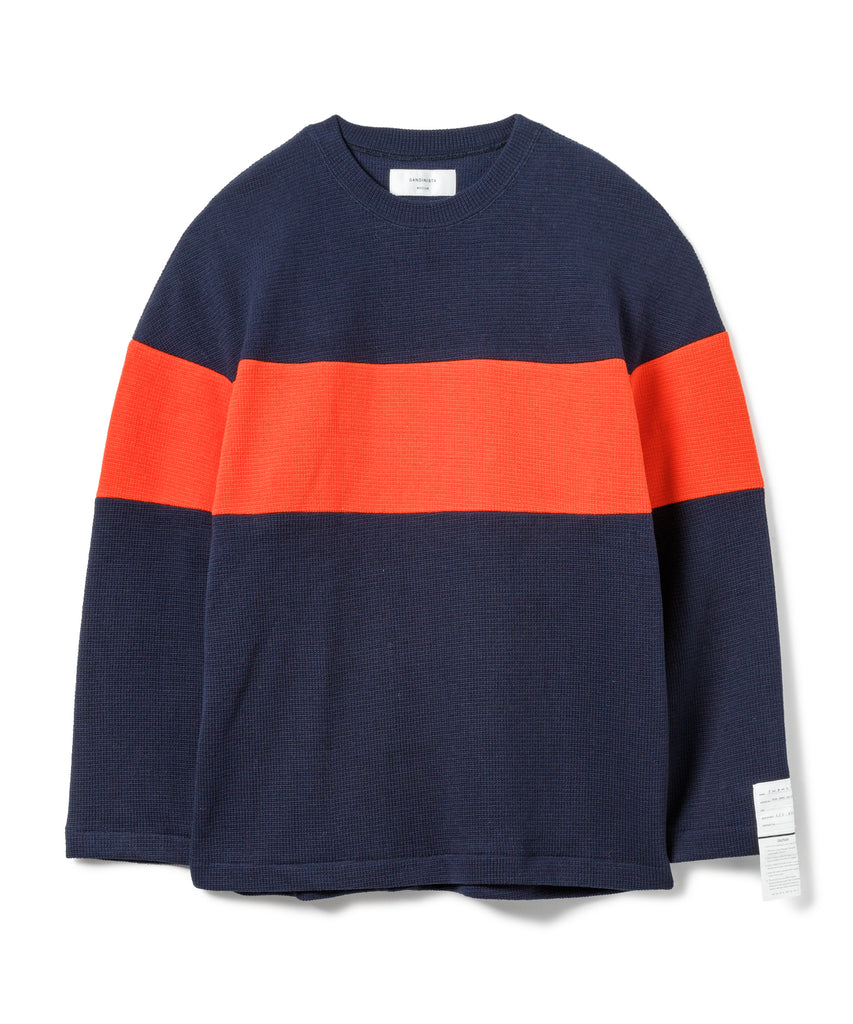 "Sandinista MFG ""2-Tone Cotton Knit Top"" Navy x Orange"