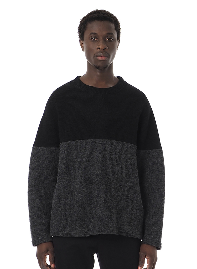 "Sandinista MFG ""2-Tone Wool Knit Top"" Black x Heather Charcoal"