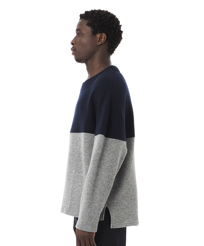 "Sandinista MFG ""2-Tone Wool Knit Top"" Navy x Heather Gray"