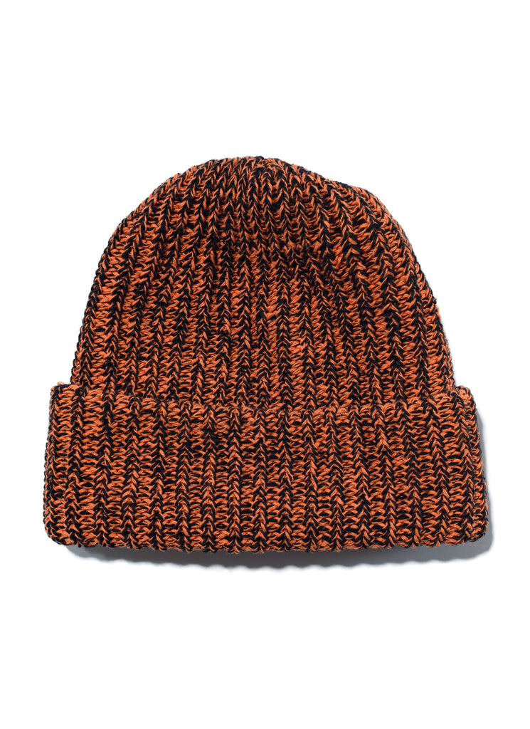 Cotton Knit Beanie - Orange x Black