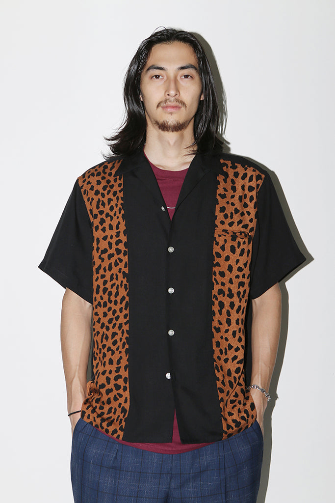 "WACKO MARIA ""Leopard Two-Tone Open Collar Shirt"" Black-Brown"