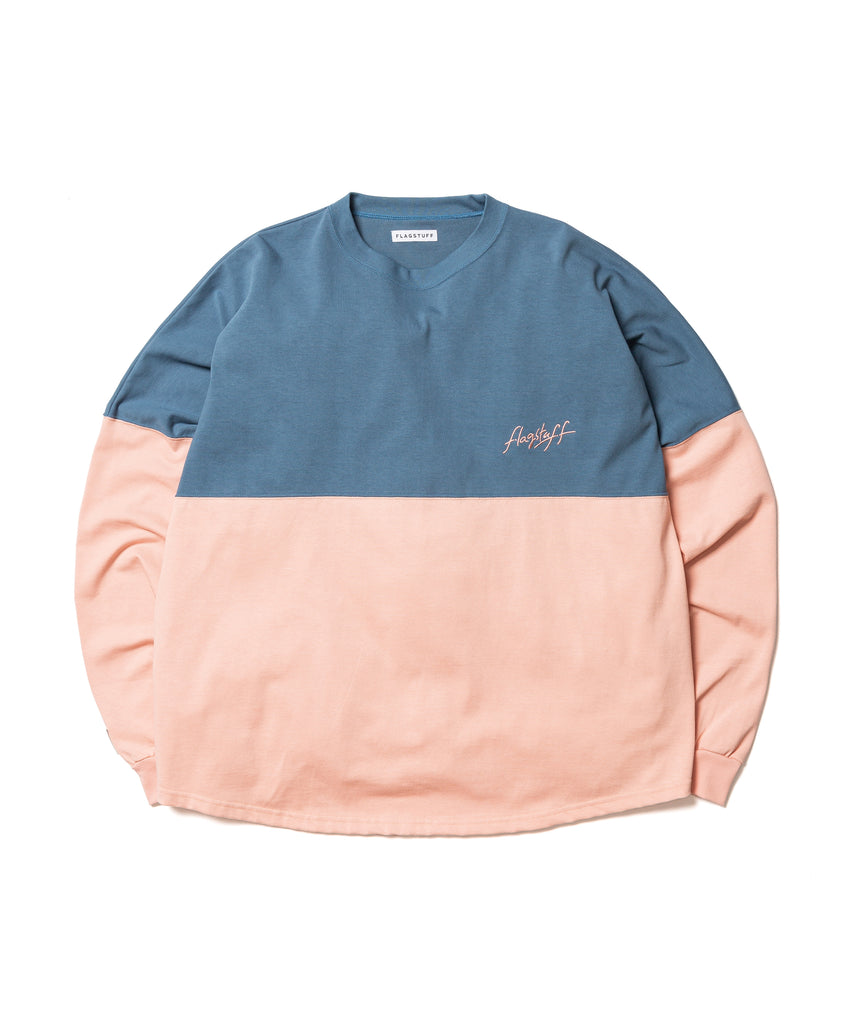 "Flagstuff ""L/S Football Tee"" Navy x Pink"