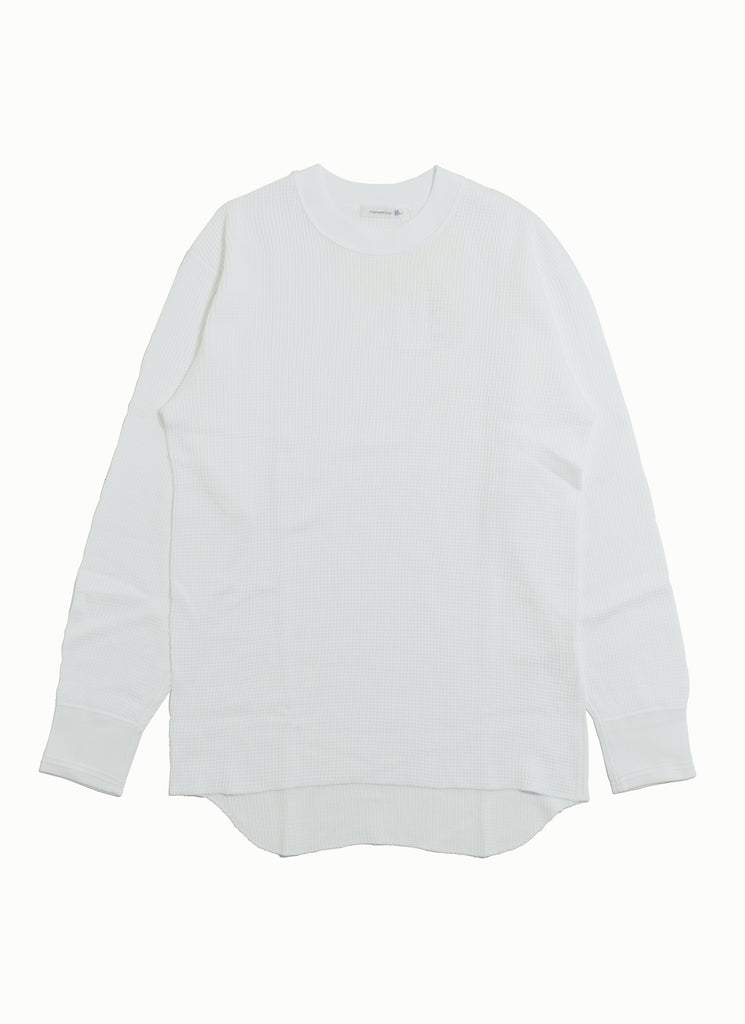 "nanamica ""Crew Neck L/S Thermal Tee"" White"