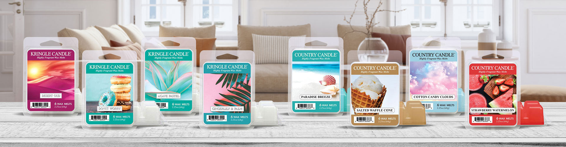 Graphic showing the Wax Melt Pack collection with a background of a brightly lit living room with a couch.