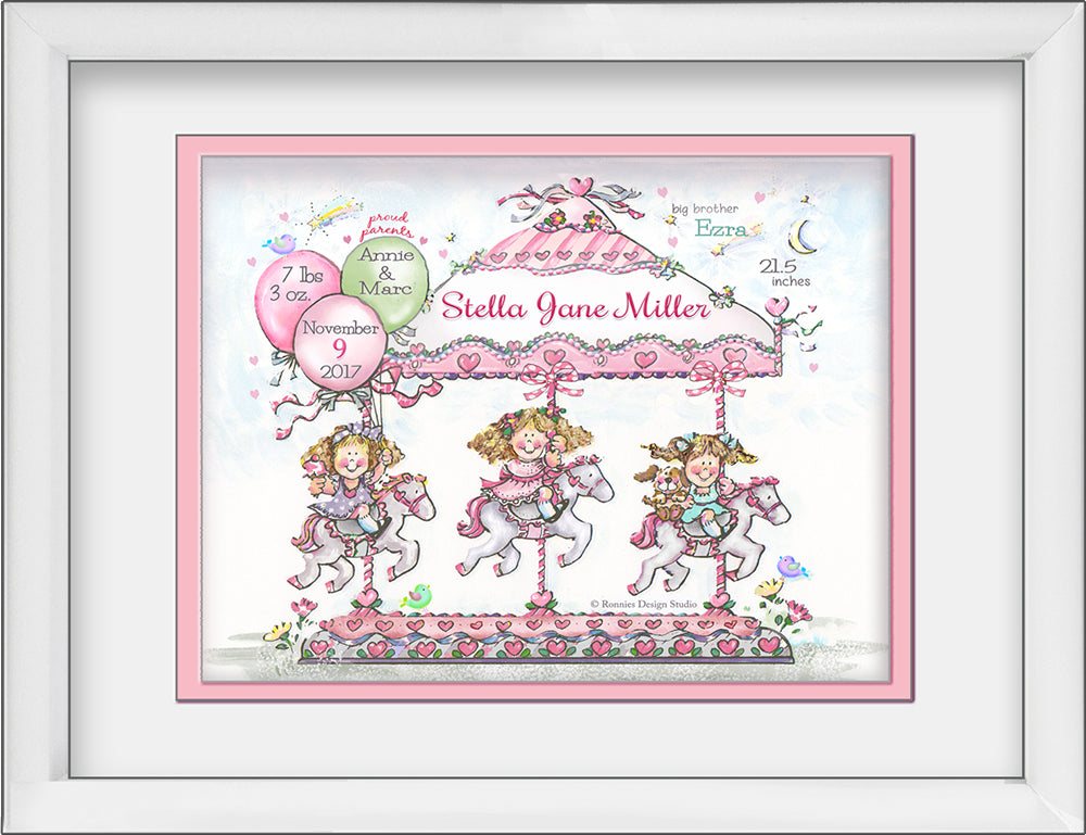 carousel newborn birth wall art personalized pink hearts balloons