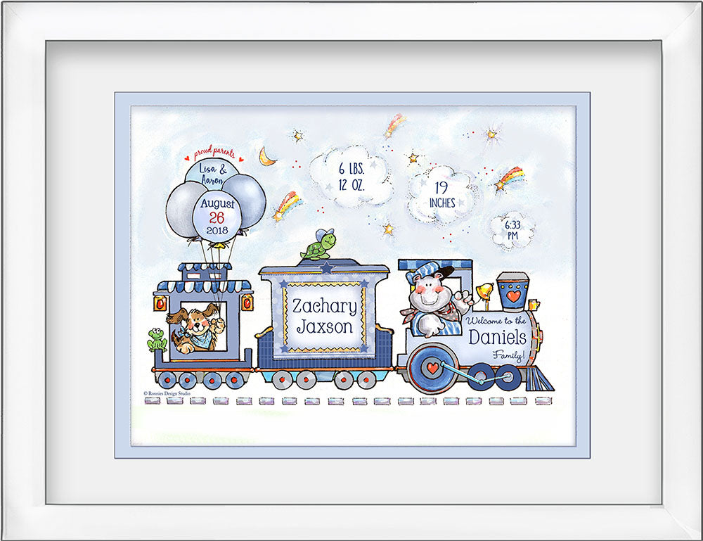 """Welcome Baby"" Birth Art - Happy Choo-Choo Train with Animals - by Ronnies Design Studio"