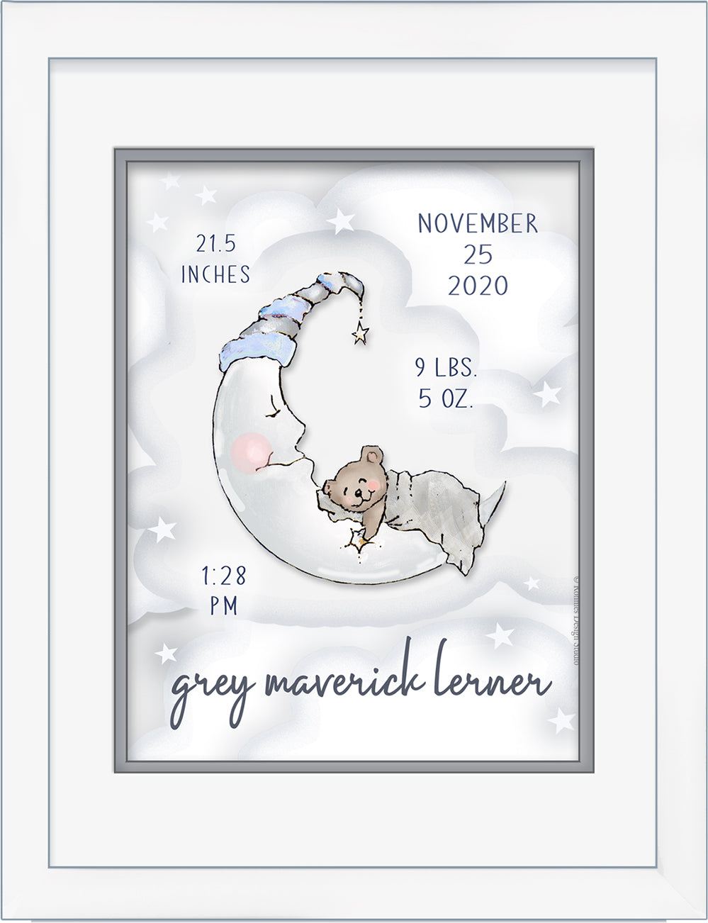 Welcome Loving Moon Sleepy Bear Baby Birth Art