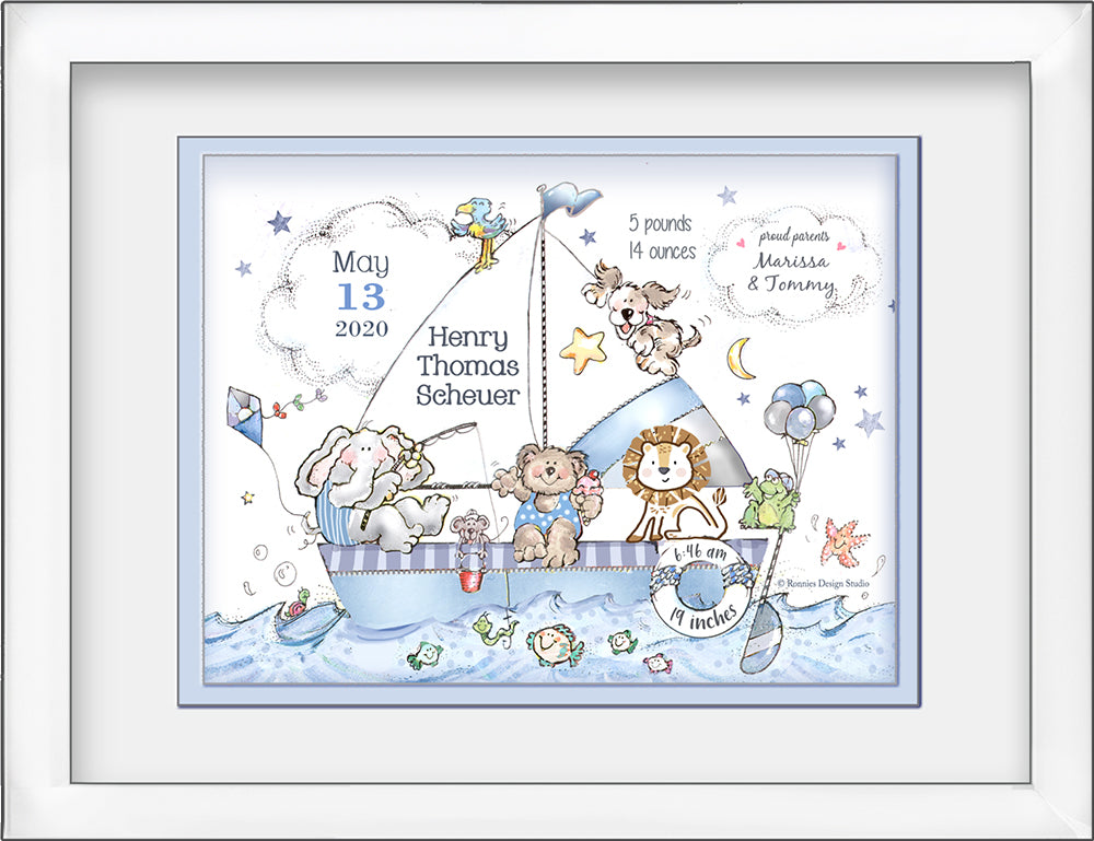 welcome baby sailboat personalized wall art teddy bear elephant lion puppy