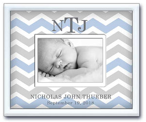 birth announcement picture frame - newborn baby boy nursery gift- light blue & grey chevron - birth stats