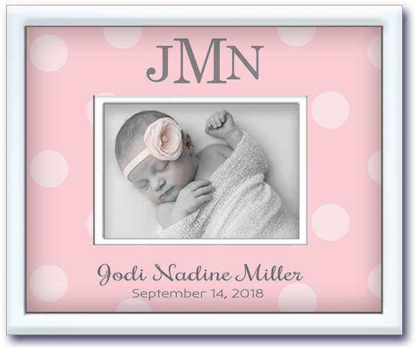 birth announcement picture frame - newborn baby girl nursery gift- pink big dots - birth stats