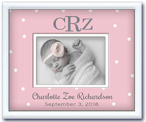 birth announcement picture frame - newborn baby girl nursery gift- pink dottie-birth stats