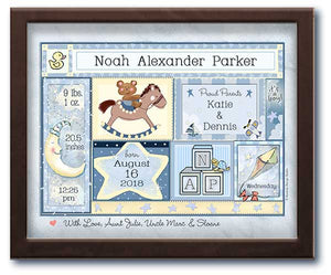 framed mini birth art baby boy statistics rocking horse moon
