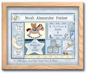 personalized newborn boy frame rocking horse moon birth stats