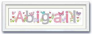 custom walldoodle name art butterflies, flowers baby girl