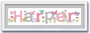 Butterfly Garden Name Frame - Pink & Grey