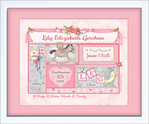 baby girl birth announcement gift frame rocking horse personalized