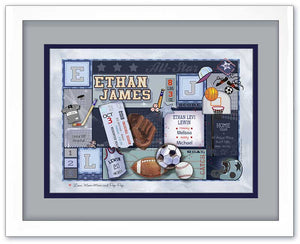Sports Birth Announcement Art - Blue & Grey - by Ronnies Design Studio