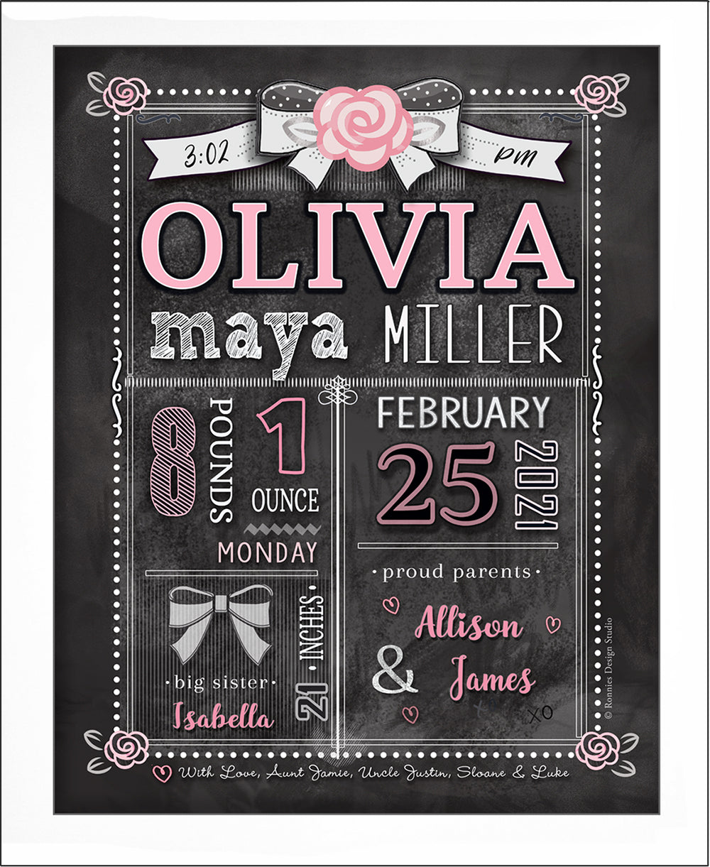 Chalkboard  Birth Announcement  Wall Art - Roses by Ronnies Design Studio