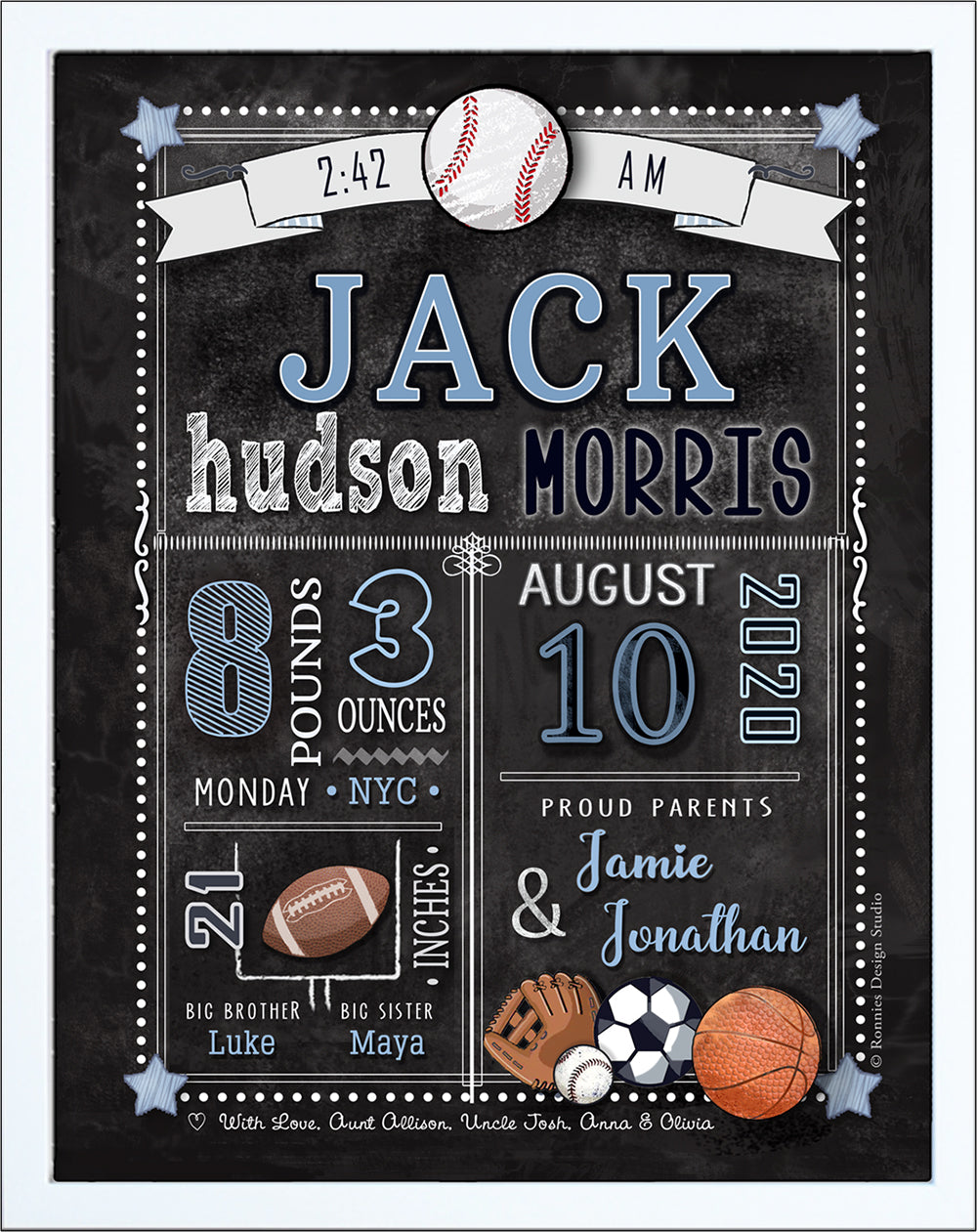 Chalkboard  Birth Announcement  Wall Art - Sports
