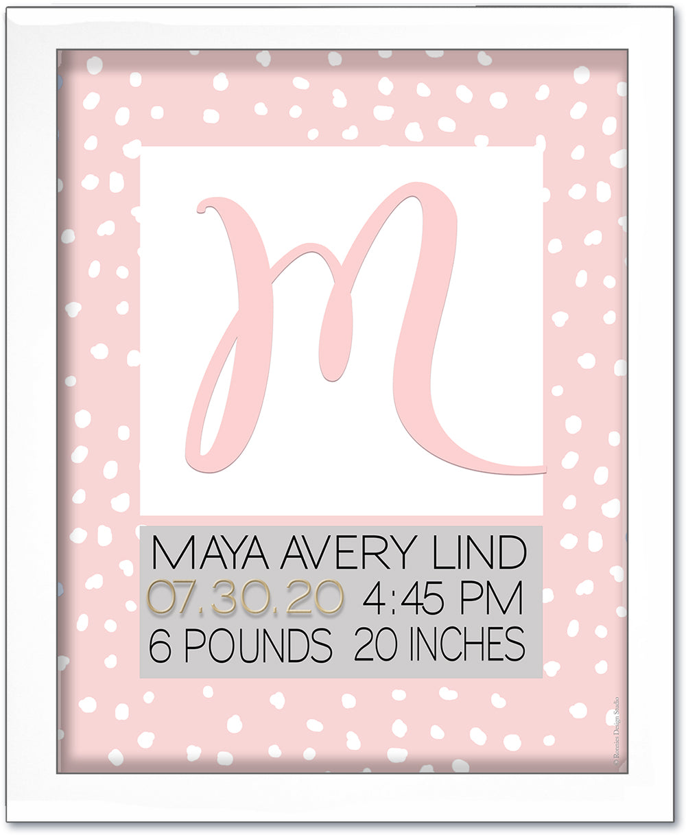 Big Initial Birth Art by Ronnies Design Studio- Pink & White Painted Dots