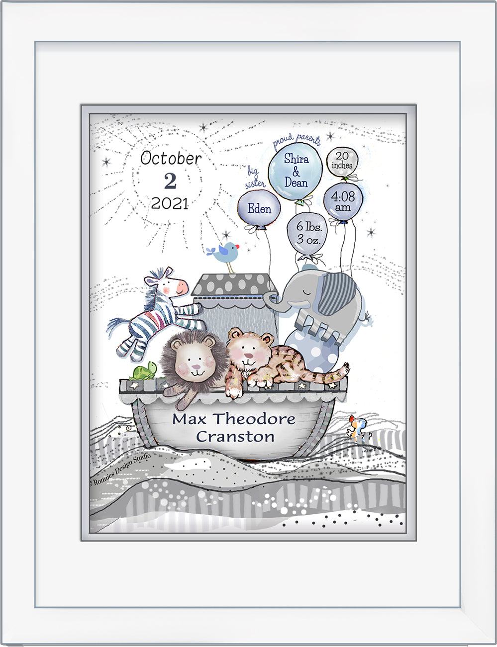 Personalized Noah's birth announcement wall art grey soft blue