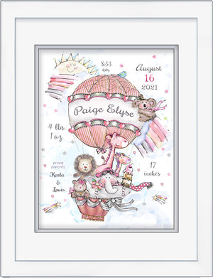 Personalized Baby Girl  art hot air balloon pink animals rainbow