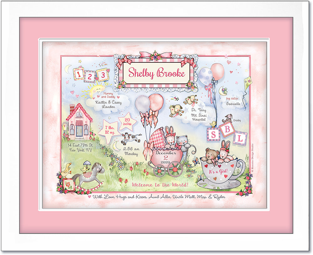 """Arrival Day"" Baby Birth Announcement Wall Art with bunny cat and bear"