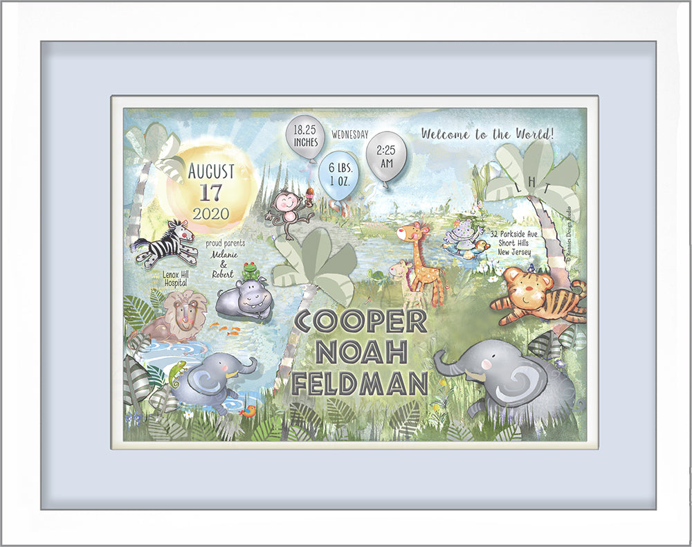 Welcome to the World Jungle Birth Announcement Art Personalized