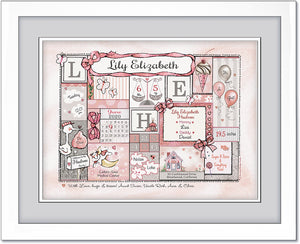 Baby Girl Birth Wall Art personalized with birth details pink grey