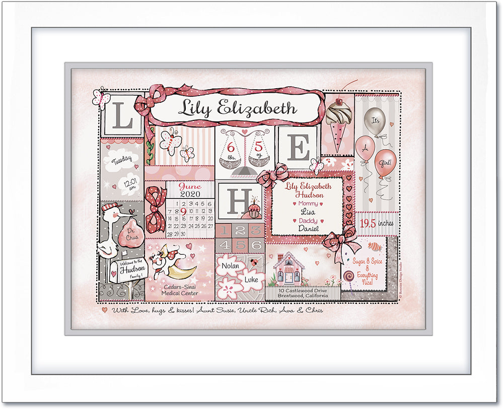 "Personalized Birth Announcement Art ""Patchwork Design""- Soft Pink & Grey -White Mat"