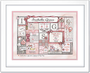"""Welcome to the World"" Birth Art - Soft Pink & Grey - by Ronnies Design Studio"