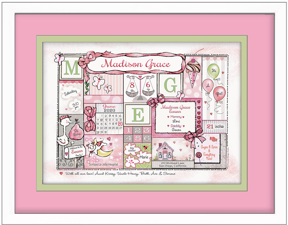 Welcome to the World girl birth announcement art personalized