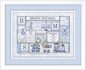 "Personalized Birth Announcement Art ""Patchwork Design""- Soft Greys & Blues"