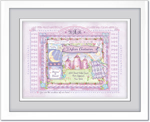 baby gift princess castle  birth art personalized lilac plum violet