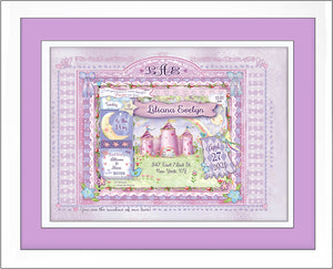 newborn baby gift princess birth art personalized lilac plum violet