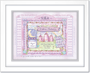 newborn baby gift princess castle  wall art personalized lilac