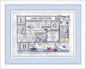 Smooth sailing baby birth wall art sailboats personalized