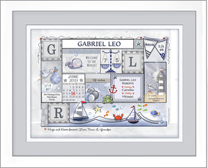 Nautical nursery baby birth wall art sailboats personalized